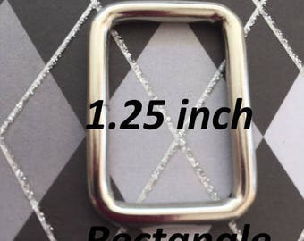 100 pieces 1.25 Inch / 32 mm Metal Wire-Formed Rectangle Rings in Nickel