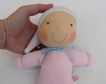 Soft plush Waldorf elf- READY TO SHIP,  soft baby doll, Waldorf baby doll, custom plush, sleepig fellow, cuddly toy, dolls for toddlers