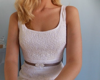 Wedding Gown Belt - Silver Belt - Gray Belt - Wedding Sash - Bridesmaid Belt - Elastic Belt - Skinny Belt - Wedding Accessories