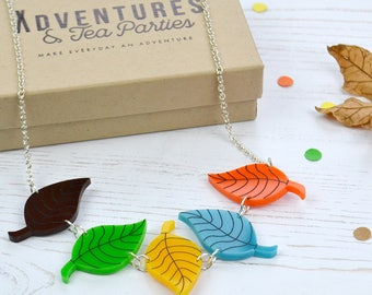 Acrylic Leaves Necklace - autumn leaf necklace - acrylic jewellery - gift for plant lover - stocking filler gift - plant lover's gift