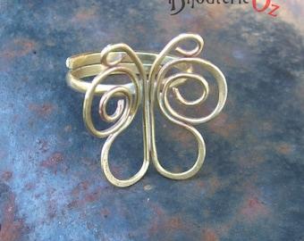 Butterfly Ring, adjustable brass butterfly ring Handmade by BijouterieOz.