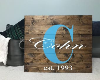 Last name wooden sign