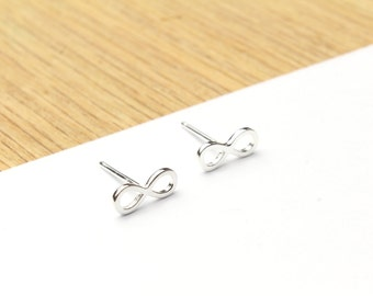 Sterling Silver Infinity Sign Stud Earrings 925 Tiny Studs