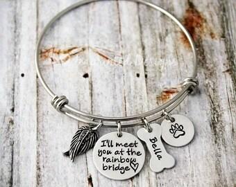 Dog Memorial Bracelet - Personalized Bangle - Sympathy Gift - Charm Bracelet - Loss of a Pet - I'll Meet You At The Rainbow Bridge - Custom