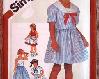 Little Girls Sailor Style Sundress and Unlined Jacket Size 4 Vintage 1980s Simplicity Pattern 5863 UNCUT