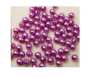 set of 100 Acrylic beads purple 4 mm