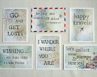 Set van 6 ansichtkaarten // reizen // afscheidscadeau voor reiziger // reizen // goede reis // vintage look // landkaarten // kompas