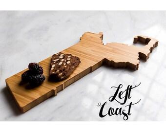 Massachusetts Cutting Board Personalized State Wedding Gift Home     Grad Kitchen Chopping Monogram Engraved  Wood Shape
