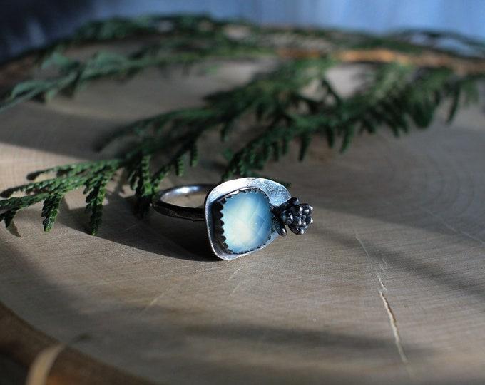 Chalcedony & Succulent Ring Sz 7.25