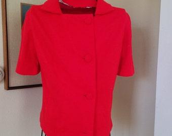 Vintage Vivid Red Top/ Blouse /Jacket