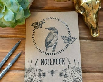 A5 recycled kraft notebook with unique nature and kingfisher illustration