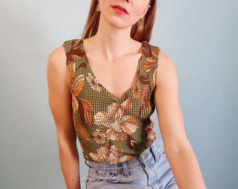 90s Green Micro Pleat Tank with Orange Floral Pattern