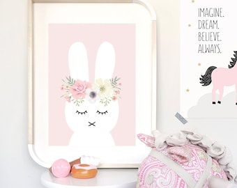 Pink Flower Bunny Print