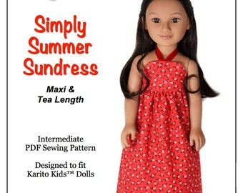 Pixie Faire Love U Bunches Simply Summer Sundress Doll Clothes Pattern for 21 inch Karito Kids Dolls- PDF