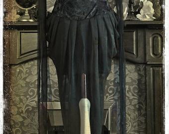 Bespoke Creepy Gothic Witch Dress by House of Goth - The Vampire's Funeral Gown with Beautiful Bustle in Deep Black Velvet & Chiffon