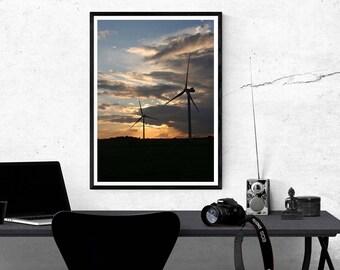 Wind turnibe print, photography print, nature photograph, wind turbine photograph, sunset print