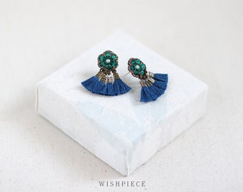 TASSEL FRINGE stud earrings / unique stud earrings / artisan jewelry / wishpiece FN15-GB