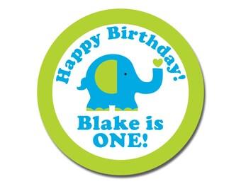 Elephant Birthday Stickers, First Birthday Gift Tags, happy Birthday Boy