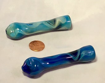 Two Blue Glass Chillums Glass Pipis