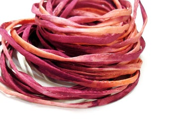 "5PC. ELECTRIC MELON 2MM Hand Dyed Silk Jewelry Cord//5PC Hand Dyed Silk Cording 1/8"" X 36""//Hand Dyed Silk Jewelry Bracelet/Necklace Cording"