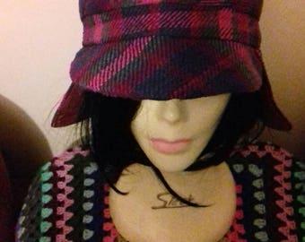 Vintage chequed lumberjack style hat