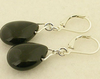 Black Onyx Lever Back Sterling Silver Earrings Pear Shap