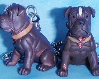 Set of Two ~ Buff Brown White Stripe Dogs Puppies ~ Ceiling Fan Pull Chains
