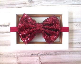 Dark Red baby headband, burgundy baby head band, baby big bow headband, red baby hair bow, infant headband, girl hair bow, newborn headband