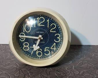 Mid Century Modern White  and Blue Mid Century Modern Mod Cute Alarm Clock Westclox mid century modern mod