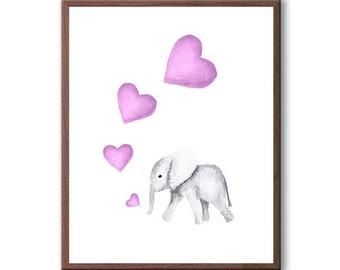 Girls Room Art, Baby Girl Gift, Pink, Girls Nursery Art, Watercolor Painting, Elephant, Art Print - E215W