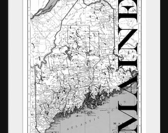Maine Map - Map of Maine - Poster - Print