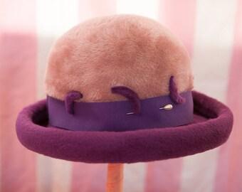 Vintage Purple Hat- Bellini Felt Crescent Moons 70s Fortune Teller Witch Halloween