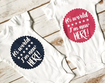 Hello World - Take Home Outfit - Coming Home Outfit - Newborn Outfit - Baby Shower Gift - Baby Girl Outfit - Baby Boy Outfit - I'm New Here