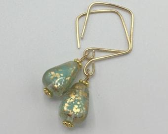 Mint Green Satin Teardrops and 14k Gold Filled Square Hoops   Hand Shaped Earrings   Mint Earrings  Czech Glass Earrings  Boho Jewelry