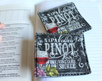 Pinot Noir from Napa Valley on Chalkboard Fabric Coaster, Coffee Mug Rug, Handmade Fabric Coasters with Pinot Noir drawings in chalk
