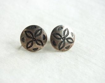 Southwestern Concho Earrings Vintage Screw Back Round Sterling Silver Mini Screwback Disc Conchos Southwestern Jewelry Under 25