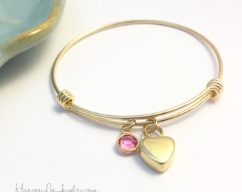 Petite Heart Urn ~ Gold Stainless Steel ~ Personalized Birthstone Bangle Bracelet ~ Custom Loss Remembrance Memorial Bereavement Gift