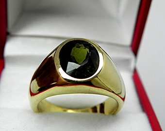 AAA Olive Green Tourmaline   10x8mm  2.68 Carats   in  Heavy 18K Yellow gold MAN'S ring 20 grams. 2572