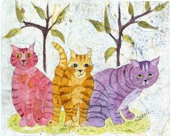 Metal Cat Wall Art,Batik, Watercolor Batik,Cat Wall Art,Cat Art, Cat Paintings, Nursery Wall Art,Watercolor Painting,Cat Watercolor Cats,