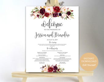 Printable Wedding Program Sign Welcome Sign Template Wedding Program Poster Wedding Template Instant Download PDF 16x20, 18x24, 20x30, 24x36