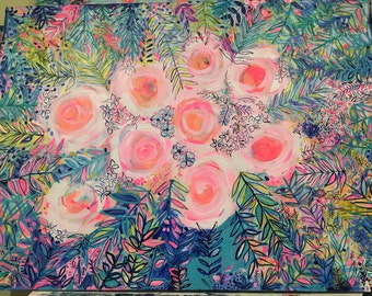 """Bucket List! Large colorful floral painting 48""""x36"""""""