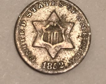 Beautiful 1852 Silver US 3 Cent Piece ( the smallest coin to be produced by The United States in all of its history).