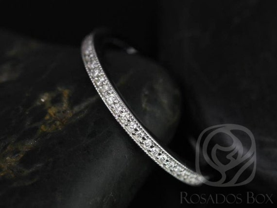 Rosados Box Victoria 14kt White Gold Thin WITH Milgrain Pave Diamonds ALMOST Eternity Band
