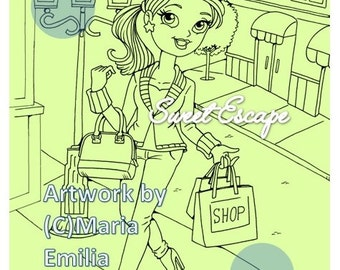 1 Shopping Digital Coloring Page