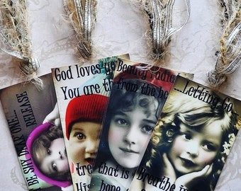 HEALING HOPE TAG Set C four vintage collage girls inspirational gift bookmark