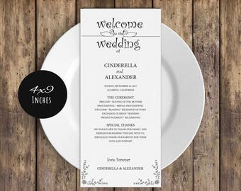 Printable Wedding Program Template, Rustic Wedding Ceremony Program, Instant Download PDF template, Kraft Wedding Program, LDS_44