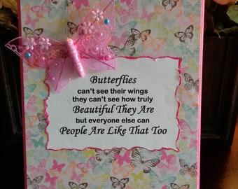 Butterflies Can't See Their Wings Canvas, Encouragement, Girlfriend Gift, Inspirational Art