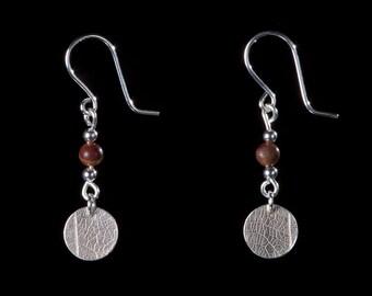 Petrified wood earrings,  silver leaf earrings, drop earrings, fossilised wood, bead earrings, fifth wedding, Christmas gift , UK designer