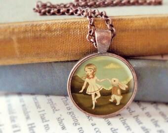 Bunny Pendant, Bunny Necklace, Bunny Jewelry, Bunny Animal Necklace, Rabbit Art, Animal Jewelry, Kids Jewelry Children - The Bunny Jive