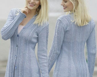 Hand Knitted Cardigan Sweater w/Lace Pattern  - MADE TO ORDER